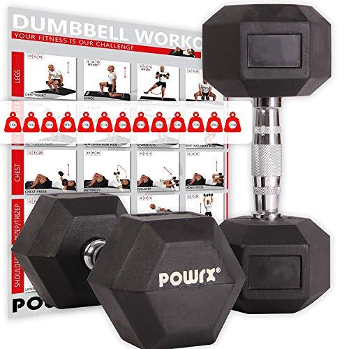 POWRX - Mancuernas hexagonales 25 kg Set (2 x 12,5 kg) - Revestimiento...