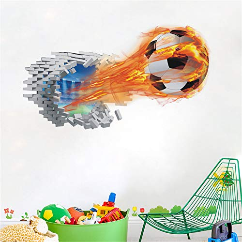Kiddale 3D Football Wall Stickers,Peel and Stick Break Through The Wall Vinyl Soccer Wall Decals Murals Art Decals for Kids Nursery Bedroom Living Room(14X29Inches)