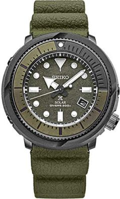 Seiko Solar Diver SNE535 Mens Camo Green Silicone Rubber Band Chronograph Camo Green Quartz Dial Watch