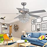 RainierLight Modern 52 inch Crystal Ceiling Fan Remote Control for Indoor Quiet Energy Saving Electric Fan/Decoration