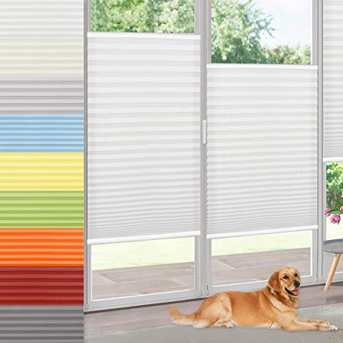 Vkele Plissee Klemmfix Faltrollo ohne Bohren (Weiß, B60cm x H100cm) Sichtschutz und Sonnenschutz, Blickdicht Plissee Rollo Jalousie für Fenster und Tür