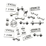 100g (About 32pcs) Jewelry Making Charms Mixed Fitness Strength Tags Kettle Bell Dumbbell Barbell Weight Sport Charms for Necklace Bracelet Jewelry Making SM39