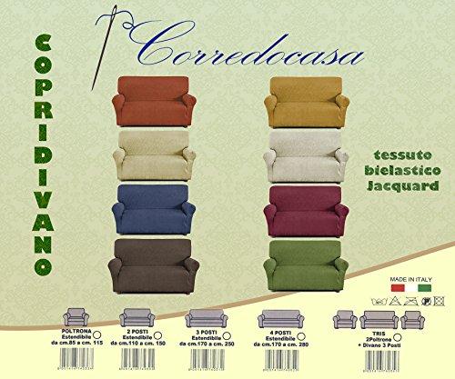 Corredocasa - Copridivano 4 posti in tessuto elastico (da 170cm a 250cm) Made in Italy (Colore da...