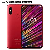 UMIDIGI F1 Factory Unlocked Phone Android 9.0 6.3' FHD+ 128GB ROM 4GB RAM Helio P60 5150mAh Big Battery 18W Fast Charge Smartphone NFC 16MP+8MP Phone(Red)