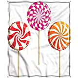 Merry Christmas,Chrismas Blanket,Blanket for Bed Microfiber Blanket Double Print Colorful Lolly Pops On Sticks Breathable Easy Care 84' X 51'