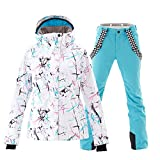 Women's Ski Jackets and Pants Set Windproof Waterproof Snowsuit Blue M