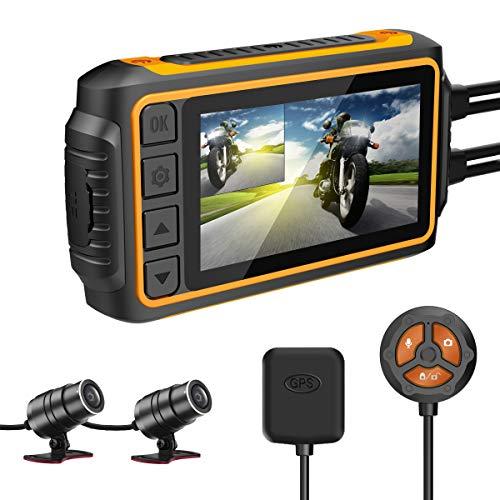 IXROAD Dashcam Moto, 1080P Camera Moto Avant et Arriere avec 3' LCD, WiFi, GPS, Gyro Anti-Shake, Capteur-G, Contrôle Filaire, Vision Nocturne, 256Go Maximum