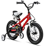RoyalBaby Kids Bike Boys Girls Freestyle BMX Bicycle with Training Wheels Kickstand Gifts for Children Bikes 16 Inch Red