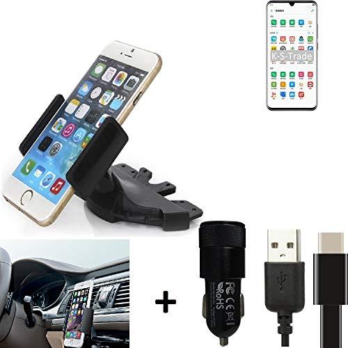 K-S-Trade Top Set Compatibile con -ZTE Axon 10s PRO 5G- + Caricabatteria Supporto Slot CD Smartphone Compatibile con Auto Dispositivi di Navigazione Montaggio Autoradio Titolare Staffa Compatibile