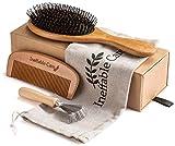 Boar Bristle Hair Brush Set for Women & Men - Wooden Comb & Detangling Hair Brushes for Women Long, Thick, Thin, Fine, Curly & Tangled - Natural Detangler Hairbrush & Comb Gift set