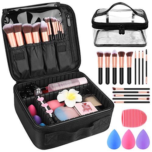 "Makeup Travel Case, Makeup Case with DIY Adjustable Divider Cosmetic Train Bag 10.3"" Organizer Perfect Set Contain 14pcs Premium Makeup Brushes 3 pcs Makeup Sponge Travel Bag Makeup Brush Cleaner"