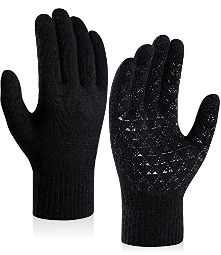 coskefy Winter Knit Gloves Touchscreen Gloves Thermal Wool Lined Texting Gloves Running Gloves for Men Women Teens