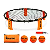 Funsparks Slam Ball Game - Spike The Ball into The Net at a Park, Beach, Lawn and Backyard – Rally, Set, Smash – Includes Playing Net, 3 Balls, Carrying Bag and Rules