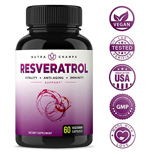Resveratrol Supplement - Extra Strength 1400mg Formula for Healthy Aging, Immune Support & Heart Health - 60 Vegan Capsules with Trans-Resveratrol, Green Tea Leaf, Acai Berry & Grape Seed Extract 8