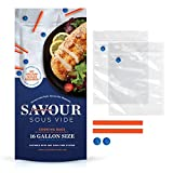 Savour Sous Vide Cooking Bags (16 Count Gallon Size), Reusable, Fast & Simple, Leak Proof, No Vacuum Sealer Required, No BPA/BPS