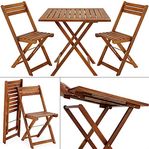 Deuba Tavolo e Sedie da Balcone Legno 3pz Pieghevole Set da Terrazzo Mobili Bistrot Arredo Giardino