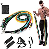 Resistance Bands Set -11Piece Exercise Bands - Portable Home Gym Accessories - Familyworkout Gym Yoga- Perfect Muscle Builder for Arms Back Leg Chest Belly Glutes