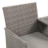 Ribelli Polyrattan Gartensitzbank mit Tisch 2-Sitzer grau Rattan Lounge - 4