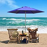 HLong 7.5Ft Portable Beach Umbrella with Sand Base and Backpack, High Wind Resistant, Vented UV50+ Protection Umbrella for Beach, Outdoor, Patio, Back Yard and Deck (Blue)