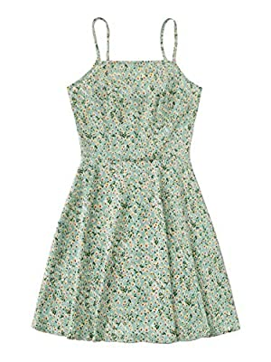 Material:Fabric is stretchy Features: ditsy floral, spaghetti strap, zipper back, sleeveless, high waist, flared dress Occasion: Suitable for vacation, holiday, dating, travel, going out Machine wash cold gentle, with like colors, do not bleach. Plea...