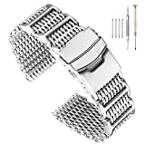 22mm Stylish Stainless Steel Shark Mesh Watch Band H-Link Expansion Watch Strap Double Buckle Deployment Clasp Brush Metal Watch Bracelet Solid Mesh Band Easy Adjusted with Screws