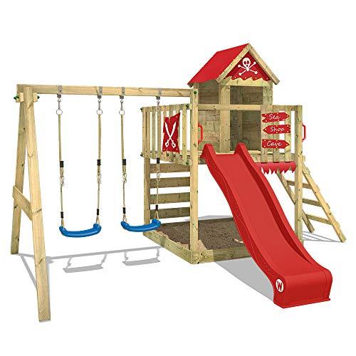 WICKEY Spielturm mit Schaukel und Rutsche, großem Sandkasten, Kletterwand und Kletterleiter \'Smart Cave\' - rote Rutsche, rote Plane