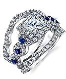 Metal Masters Co. Women's Sterling Silver 925 Engagement Wedding Rings Bridal Set 3pcs Princess Cubic Zirconia 5
