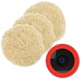 Wool Polishing Pads, SPTA 8'(200mm) 100% Natural Wool Buffing Pad with Hook & Loop Backing 4pcs Set Come with 5/8-11 Thread Backing Plate for Car Polishing, Buffing and Cutting