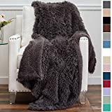 The Connecticut Home Company Shag with Sherpa Reversible Throw Blanket, Super Soft, Large Plush Wrinkle Resistant Blankets, Warm and Hypoallergenic Washable Couch or Bed Throws, 65x50, Gray