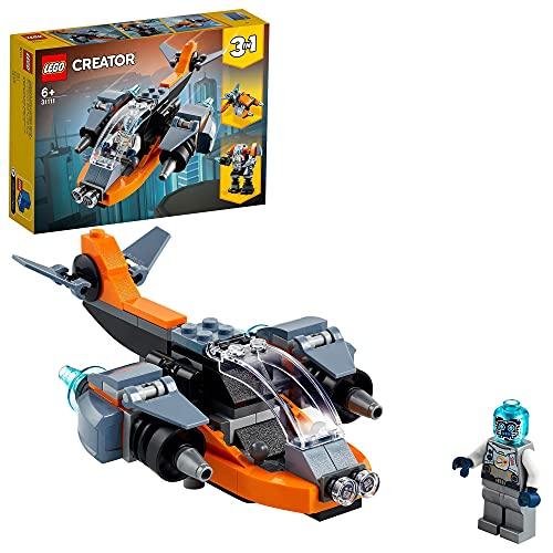 LEGO Creator 3 in 1 Cyber-drone, Cyber-mech, Cyber-scooter, Set da Costruzione, Giochi Spaziali per Bambini 6 Anni, 31111