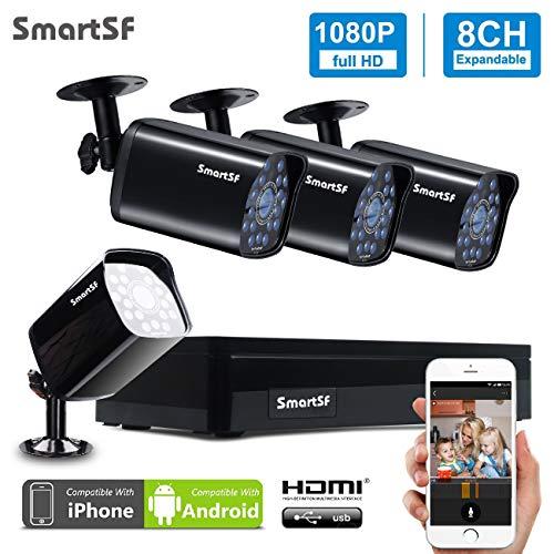 SmartSF CCTV Kit 1080P Videosorveglianza di sistema 4CH AHD DVR (4) intemperie Outdoor Telecamere con IR visione notturna,Motion Detection,smartphone,PC facile accesso remoto,senza HDD