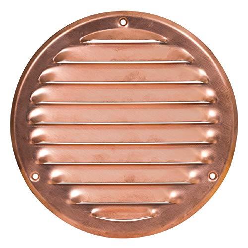 Griglia di ventilazione in rame 200 mm, con protezione dagli insetti, rotonda in metallo, dimensioni esterne: 240 mm.