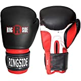 Ringside Pro Style Boxing Training Gloves Kickboxing Muay Thai Gel Sparring Punching Bag Mitts, Small/Medium, Black/Red