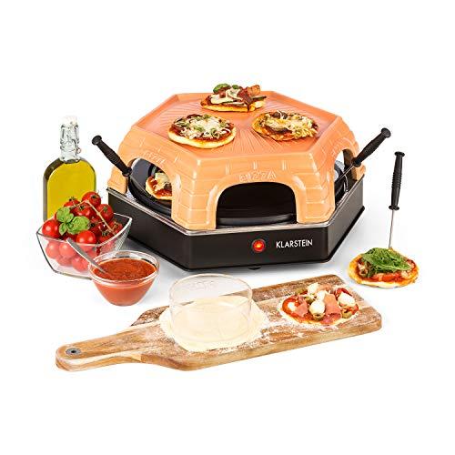 Klarstein Capricciosa - Pizzaofen für 6 Personen, Pizzadom, elektrisch, 1500 Watt, 5-7 Min. Backzeit, Terracotta-Abdeckung, Warmhaltefunktion, schwarz