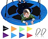 Royal Oak Saucer Tree Swing ,Giant 40 Inches with Carabiners and Flags, 700 lb Weight Capacity, Steel Frame, Waterproof, Easy to Install with Step by Step Instructions, Non-Stop Fun! (Blue)