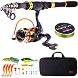 Sougayilang Telescopic Fishing Rod Reel Combos Portable Fishing Pole with Spinning Reel Fishing Carrier Bag for Travel Saltwater Freshwater Fishing-2.4M/7.87Ft