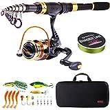 Sougayilang Canne à pêche télescopique et moulinets portables pour...