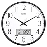Kpin 13 Inch Silent Non-Ticking Quartz Wall Clock Decorative Indoor Kitchen Clock, Excellent LCD Display,Battery Operated Wall Clock for Living Room,Kitchen,Dining Room,Bedroom (Black, 13' LCD)