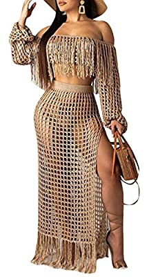 Ladies fishnet strapless long sleeve crop top with tassels high waist side slit bodycon maxi skirt Womens sexy casual 2 piece outfits dress beachwear Get beach-ready with this stunning see through hollow out relaxed cover-up suits Perfect for Tropica...