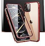 JCGOOD iPhone 12 Pro Max ケース 360°全面保護 前後 透明 両面 強化 ガラス マグネット式 ア……