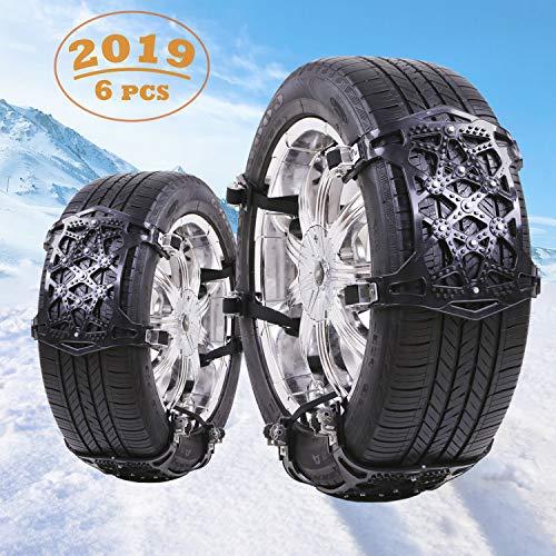 Qisiewell Anschnall-Schneeketten Schwarze Auto-Reifenketten Universal 6 Stücke Anti-Rutsch-Ketten Geeignet für Reifenbreite 165mm-265mm