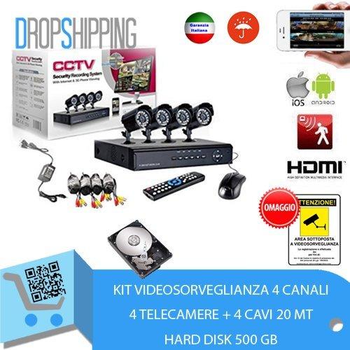 GENERAL TRADERS - Kit Videosorveglianza 4 Telecamere Infrarossi HD500, DVR, Alimentatore e Cavi