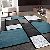 Contemporary Modern Boxes Area Rug 5' 3' X 7' 3' Blue/Gray