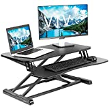 VIVO Stand Up Height Adjustable 32 inch Desk Riser, Sit Standing Converter, Dual Monitor and Laptop Workstation, Black, DESK-V000K (Office Product)
