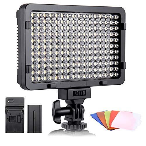 Luce Fotografica a LED ESDDI, Luce Video, 176 LED Dimmerabili Super Luminosi 3200-5600K, 5 Filtri Colorati, CRI 95+, Batteria con Caricabatterie Incluso, per Fotocamere DSLR