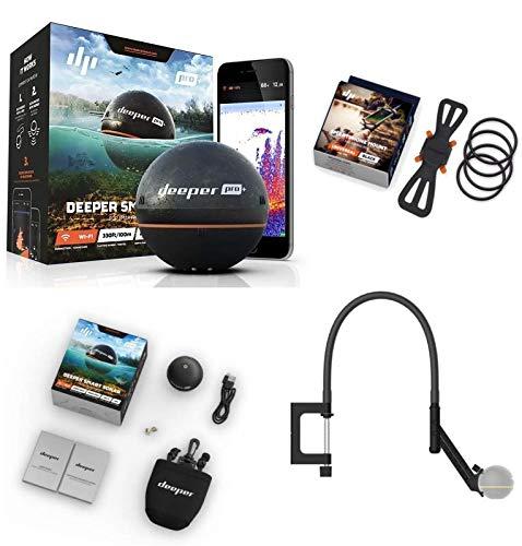 Deeper Smart Sonar Pro + Plus WiFi GPS Echolot + braccio flessibile + supporto per smartphone