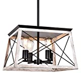 Henveton 4-Light Island Light, Industrial Kitchen Pendant Lighting Fixtures Metal Vintage Farmhouse Chandeliers Ceiling Linear Fixture for Dining Toom, Pool Table-Rustic White