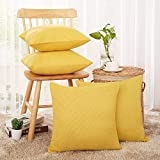 Deconovo Faux Linen Fall Pillow Covers - Yellow Cushion Cover for Sofa (Goose Yellow, 18x18 in, Set of 4)