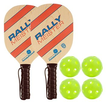 Rally Meister Wood Pickleball Paddle Bundle ( Set included 2 Paddles & 4 Balls )