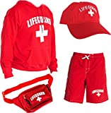 LIFEGUARD Officially Licensed Mens Halloween Costume Combo Pack Hoodie, Shorts, Hat, Fanny Pack … Red